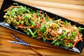Thai Peanut Edamame and Carrot Salad