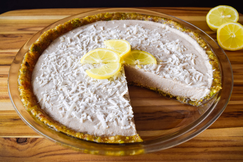 Vegan No Bake Lemon Tahini Coconut Cream Pie