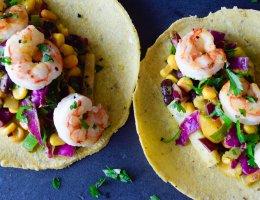 Shrimp Tacos with Mango Jicama Citrus Slaw